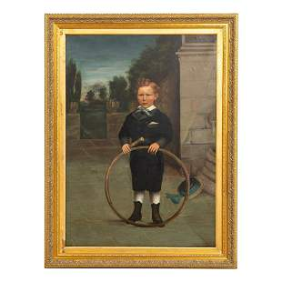 LARGE PORTRAIT OF A BOY, OIL ON CANVAS, FRAMED
