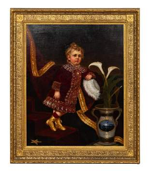 AMERICAN SCHOOL PORTRAIT OF CHILD, OIL ON CANVAS