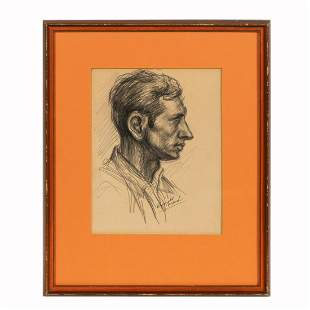 REGINALD MARSH, PORTRAIT DRAWING OF MAN, SIGNED