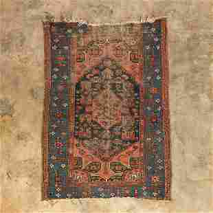 "ANTIQUE HAMADAN CARPET, 5'2"" x 3'5"""