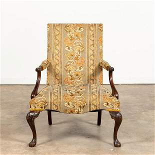 20TH C. CARVED MAHOGANY GAINSBOROUGH ARMCHAIR