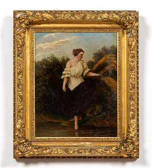 19TH C, ALLEGORICAL OIL PAINTING, GILTWOOD FRAME