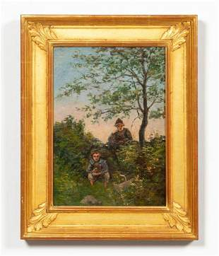 EDWARD GAY, APPLE PICKERS LANDSCAPE PAINTING, OIL