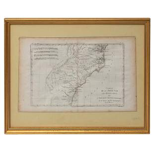 18TH CENTURY FRENCH MAP OF SOUTHEASTERN US