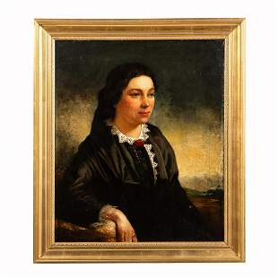 19TH C PORTRAIT OF WOMAN, OIL ON CANVAS, FRAMED