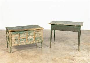 19TH C. PRIMITIVE GREEN PAINTED CHEST AND TABLE
