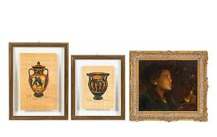3 PCS, PORTRAIT OF MUSICIAN & GREEK VASE STUDIES