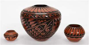 THREE NATIVE AMERICAN JEMEZ RED & BLACK VASES