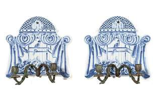 PAIR BLUE & WHITE WHIMSICAL TWO-LIGHT WALL SCONCES
