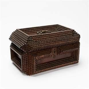 E. 20TH C. TRAMP ART CARVED WOOD DRESSER BOX