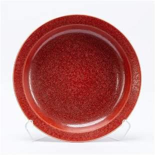 CHINESE KANGXI STYLE RED BEAN GLAZE LOW BOWL