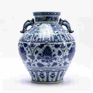 CHINESE BLUE AND WHITE YUAN DYNASTY STYLE JAR