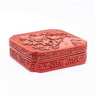 CHINESE LIDDED FLORAL CARVED SQUARE CINNABAR BOX