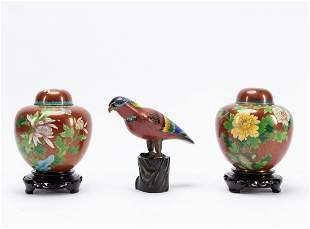 GROUP 3 RED GROUND CLOISONNE ITEMS