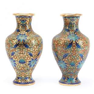 PAIR, CHINESE LOTUS PATTERNED CLOISONNE VASES