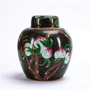 CHINESE BLACK CLOISONNE FRUIT MOTIF GINGER JAR