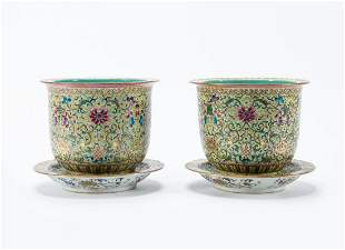 PAIR, CHINESE FAMILLE ROSE PLANTERS & UNDERPLATES