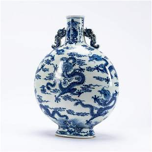 CHINESE BLUE & WHITE DRAGON & PEARL MOON FLASK