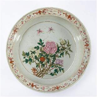 CHINESE LARGE FAMILLE ROSE FLORAL WASH BASIN