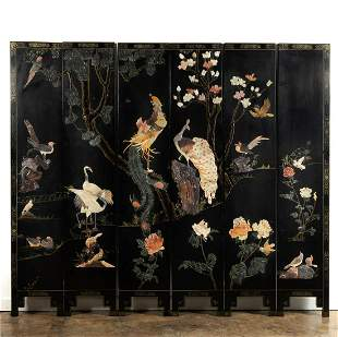 CHINESE SIX-PANEL LACQUER & HARDSTONE FLOOR SCREEN