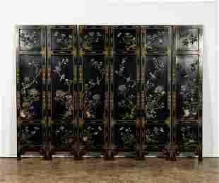 SIX-PANEL CHINESE SCREEN WITH HARDSTONE BIRDS