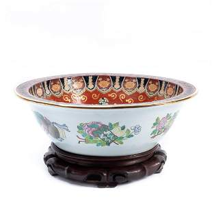 CHINESE IMARI PEACOCK PORCELAIN BASIN ON STAND