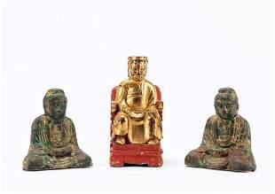 THREE ASIAN BUDDHA FIGURES, ONE GILTWOOD