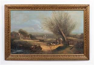 S. DELAVEAU SIGNED, RURAL LANDSCAPE, 1836