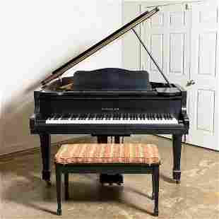 STEGLER EBONY BABY GRAND PIANO & BENCH, G-35