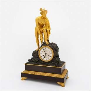 FRENCH GILT BRONZE FIGURAL CLOCK, CA. 1825