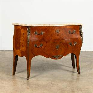 20TH C. LOUIS XV STYLE MARBLE TOP BOMBE COMMODE