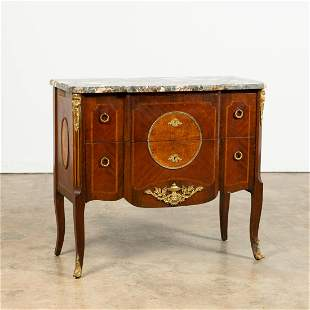 20TH C. LOUIS XV STYLE MARBLE TOP INLAID COMMODE