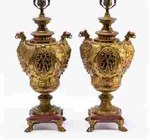 PAIR, 19TH C. GILT BRONZE URN LAMPS WITH GRIFFINS
