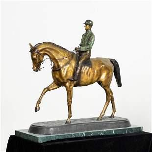 PJ MENE JOCKEY ON HORSEBACK, BRONZE, MARBLE BASE