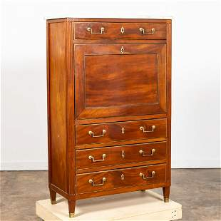 FRENCH MARBLE TOP SECRETAIRE A ABATTANT, C. 1860