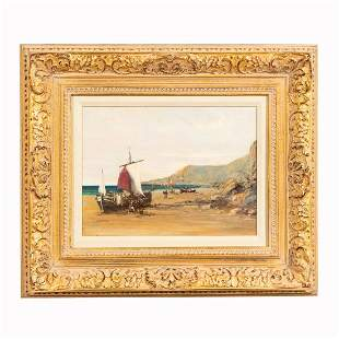 CHRISTIAN NEPO, RED SAIL, OIL ON CANVAS, FRAMED