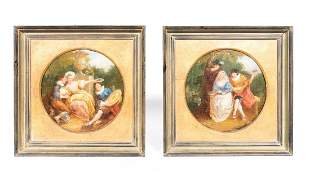 PAIR, STYLE OF FRAGONNARD OILS, COURTING SCENES
