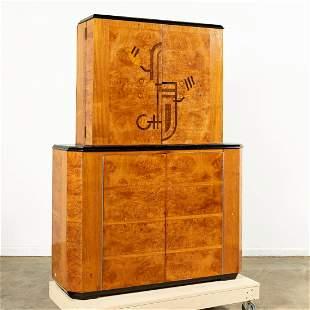 ART DECO BURL WOOD INLAID BAR CABINET, C. 1934