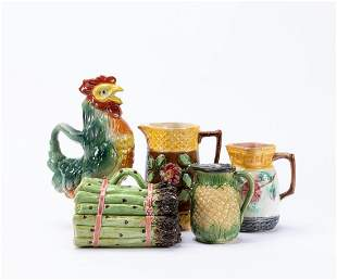 5PC MAJOLICA POTTERY TABLEWARE GROUPING