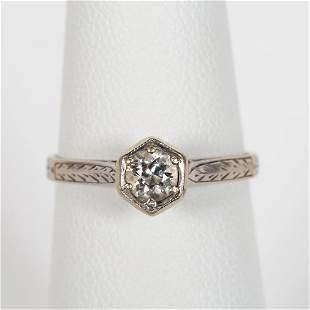 VINTAGE 14K WHITE GOLD & DIAMOND ENGAGEMENT RING