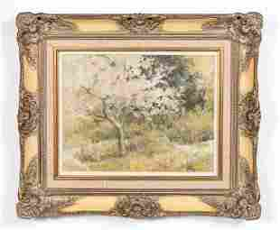 N. NOBLE, PASTEL LANDSCAPE WITH APPLE TREE