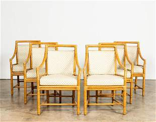 SET, SIX MCGUIRE RATTAN TARGET BACK BAMBOO CHAIRS