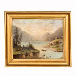 F. COMPTON, OIL ON CANVAS, MOUNTAIN LANDSCAPE 1898