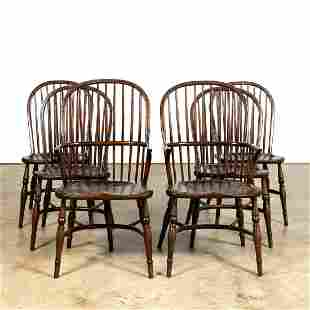 SET, SIX WINDSOR CONTINUOUS BOW BACK DINING CHAIRS