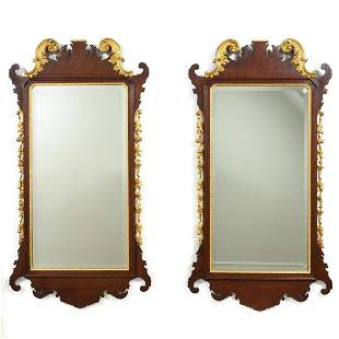 PAIR, PARCEL GILT CHIPPENDALE STYLE WALL MIRRORS