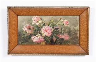EDITH WHITE 1889 OIL, STILL LIFE OF PINK ROSES