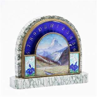 VERY FINE CLOISONNE SCENIC MANTEL CLOCK, GROGAN CO