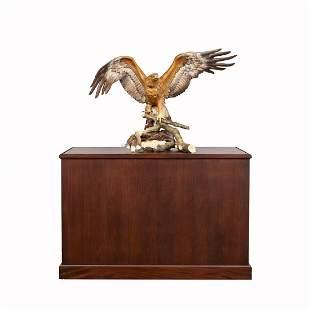 "MONUMENTAL BOEHM ""GOLDEN EAGLE"" FIGURE IN CASE"