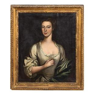 OIL ON CANVAS, PORTRAIT OF A LADY, GILTWOOD FRAME