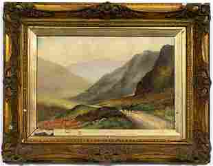 ALFRED WILDE, MOUNTAIN LANDSCAPE, GILTWOOD FRAME